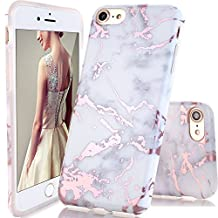 iPhone 6 Case,iPhone 6S Case,DOUJIAZ Shiny Rose Gold White Marble Design Clear Bumper TPU Soft Case Rubber Silicone Skin Cover for Normal 4.7 inches iPhone 6 6s