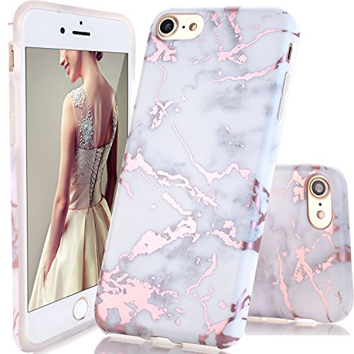 DOUJIAZ Compatible with iPhone 7 Case,iPhone 8 Case,Shiny Rose Gold White Marble Design Clear Bumper TPU Soft Case Rubber Silicone Skin Cover for iPhone 7(2016)/iPhone 8(2017)