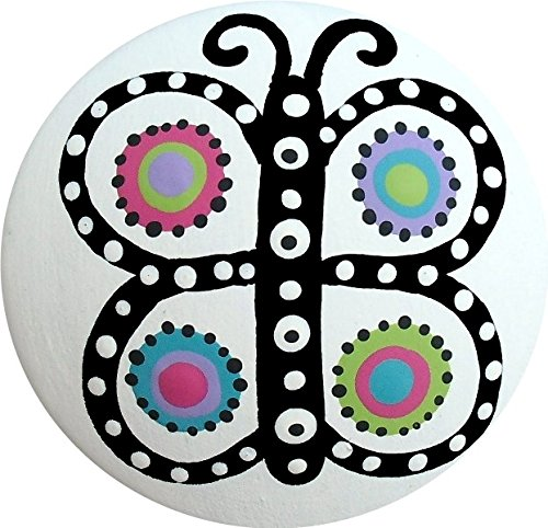 Hand Painted Black and White Colorful Butterfly Polka Dot Knobs Decorative Dresser Knobs Cabinet Knobs Wood Knobs Kids Drawer (Hand Painted Butterfly Knob)