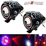 AllExtreme EXU7FRS2 Rainbow Style Hybrid U7 Foglight Waterproof Driving Spotlight with Red Angel Eye for Cars, Bikes, Trucks and Motorcycle (15W, Pack of 2)