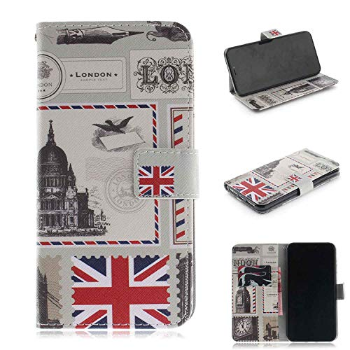 """Price comparison product image Case for iPhone Xs Max,  Macoku Wallet Case 3D Art Pattern Magnetic Clasp PU Leather Folio Holster Protective Cover for Apple iPhone Xs Max 6.5"""" (British Stamp)"""