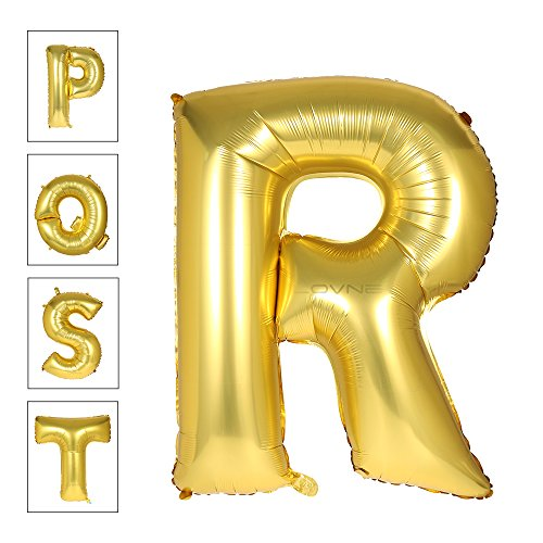 Lovne 40 Inch Gold Alphabet R Balloon Birthday Party Decorations Helium Foil Mylar Letter - Gold R R And