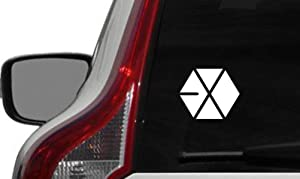 Exo Logo Version 2 Car Vinyl Sticker Decal Bumper Sticker for Auto Cars Trucks Windshield Custom Walls Windows Ipad MacBook Laptop Home and More (White)