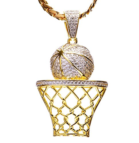 - metaltree98 Luxury Hip Hop Iced Out 14kt Gold Plated Mini Basketball Rim Pendant Miami Cuban Chain Set BCH 1050