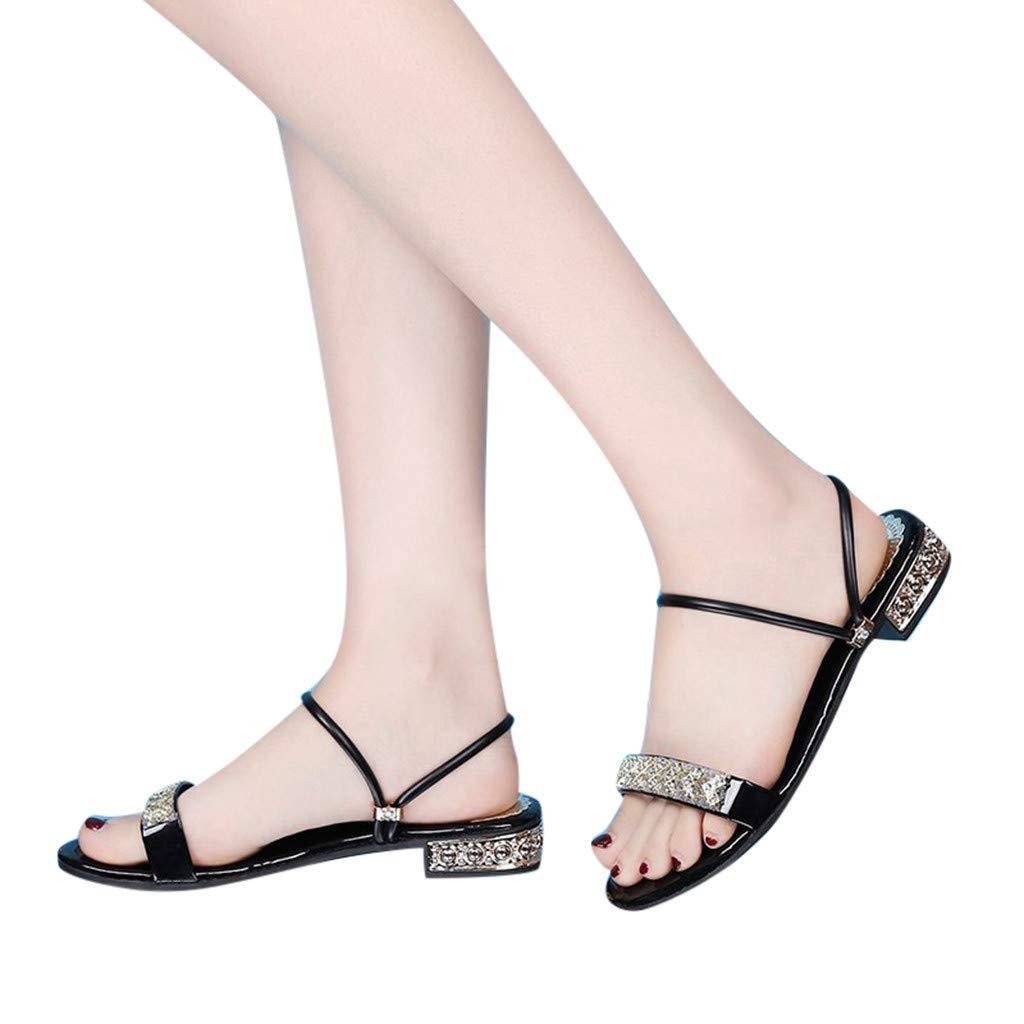 Hopwin Women's Roman Shoes Slipper Ladies Girls Fashion Casual Crystal Two Flat Open Toe Sandals Slippers (38, Black)