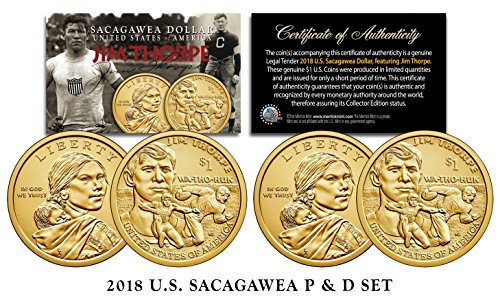 American Mint Coins - 2018 US MINT Native American JIM THORPE $1 Dollar Sacagawea 2-Coin Set Both P&D