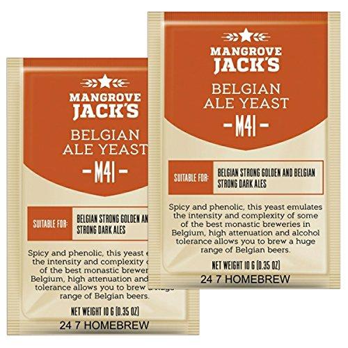 (2x Mangrove Jack Yeast Belgian Ale M41 Craft Series Yeast 10g treats 23L)
