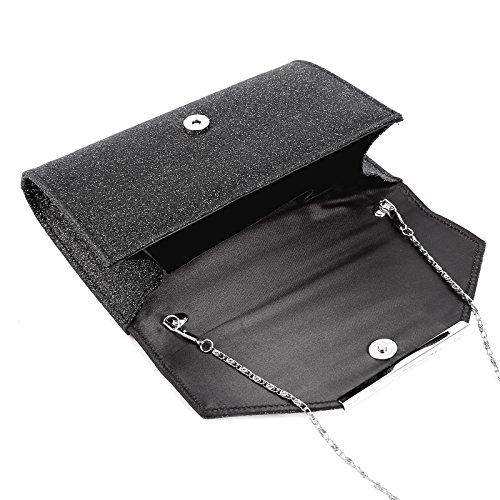 Anladia - Bolso de Mano Cartera de Mano de Mujer Tipo Clutch con Cadena Larga de 120cm Cierre de Imán para Fiesta Cena Boda Salidas 5 Colores Negro