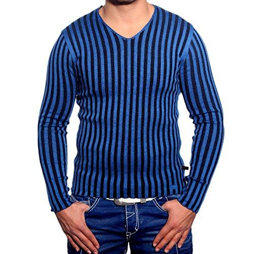 R-Neal RN-3174 Herren Pullover V-Neck Pulli Sweatshirt Jacke Hoodie T-Shirt Neu, Größe:XL, Farbe:Sax