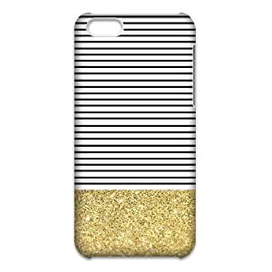 Canting_Good Simple Stripes Small Shiny Gold Custom Case Cover Shell for iPhone 5C 3D