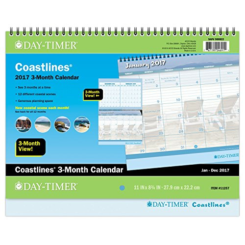 "Day-Timer Wall Calendar 2017, Monthly, 3-Month Calendar, 11 x 8-3/4"", Wirebound, Coastlines (11257)"