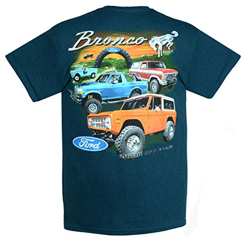 Hot Rod Apparel Company Ford Bronco T-Shirts 100% Cotton Preshrunk - Blue