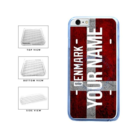 BleuReign(TM) Personalized Custom Name License Denmark Plate Clear Sides Plastic Phone Case Back Cover For Apple iPhone 6 Plus and iPhone 6s Plus (5.5 Inches - Official Denmark Name