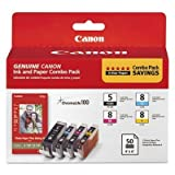 Canon PGI-5/ CLI-8, 0628B027 (PGI5, CLI8) Black, Cyan, Magenta, Yellow OEM Genuine Inkjet/Ink Cartridge with Photo Paper- Retail by Canon