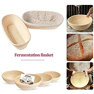 """Round 6"""" Brotform Banneton Proofing Baskets with Linen Liner Cloth, Dough Rising Rattan Bread Bowl for Professional & Home Bakers (6"""", Round shape)"""