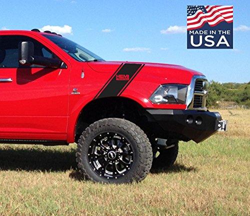 (Dodge Ram HEMI Powered Hash Vinyl Decal 2 Stripes Truck Graphics Set)