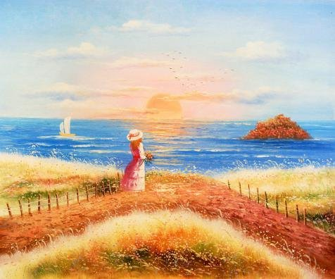 Oil Painting 'a Girl Looking Into The Sea', 18 x 22 inch / 46 x 55 cm , on High Definition HD canvas prints is for Gifts And Bath Room, Kitchen And Study Room Decoration, (Chameleon Pajama Costume)