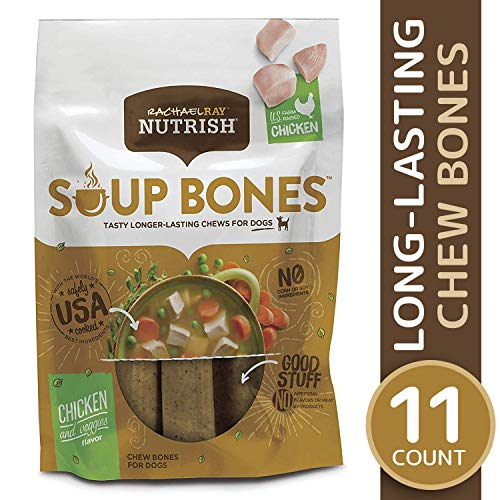 Rachael Ray Nutrish Soup Bones Dog Treats, Real Chicken & Veggies Flavor, 11 bones