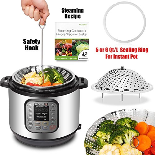 : [IP BUNDLE] Vegetable Steamer Basket For Instant Pot Accessories - 100% Stainless Steel Folding Steamer Insert With Sealing Ring For 6qt Instant Pot/Safety Hook/42 Healthy Recipes