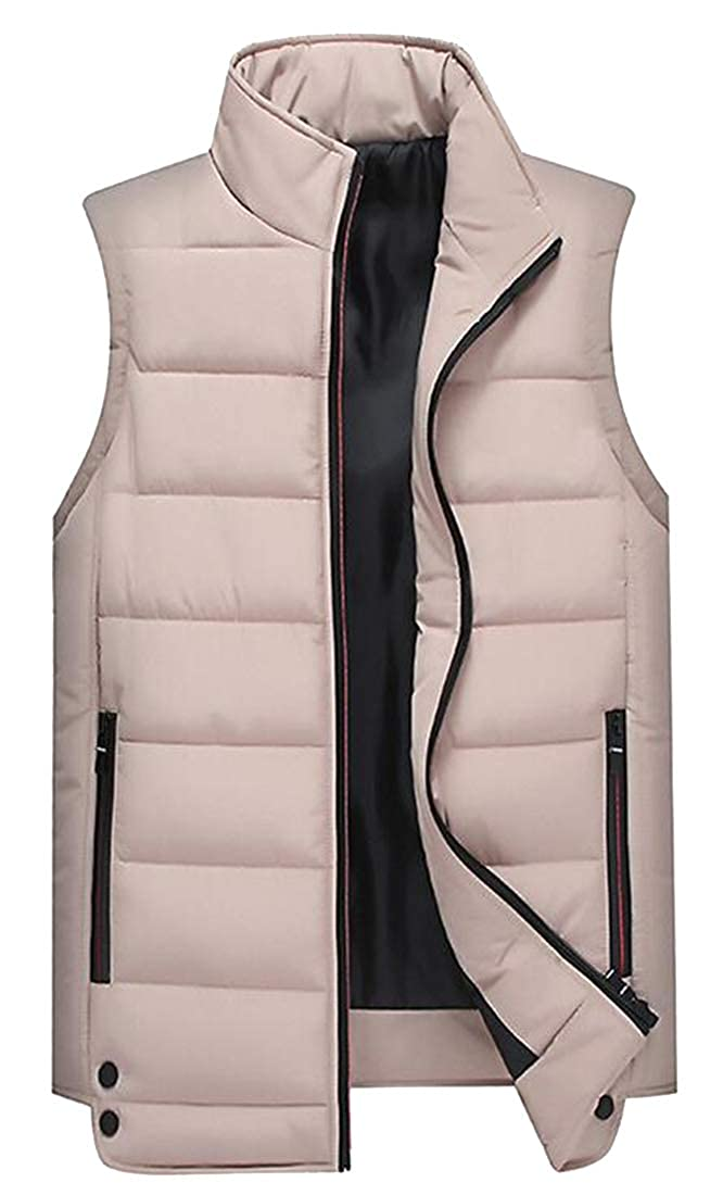 OTW Mens Thicken Stand Collar Sleeveless Fall Winter Casual Warm Down Quilted Waistcoat Vest Jacket Khaki M