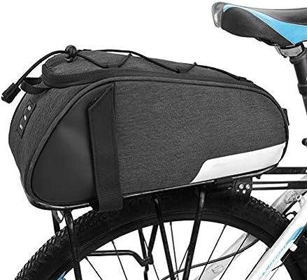 PORTAEQUIPAJES Bolsa Alforja Trasera Bicicleta, Bolsa de Asiento Trasero para Bicicleta Resistente al Agua Capacidad Masiva 8L para Desplazamientos al Aire Libre: Amazon.es: Deportes y aire libre