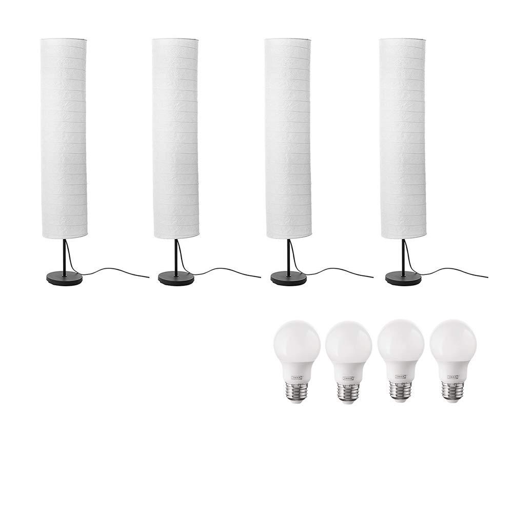 Ikea Holmo Floor Lamp and E26 LED Bulb Bundle Includes Three Ikea Holmo Floor Lamps 46-Inch and Three Ikea E26 LED Bulbs