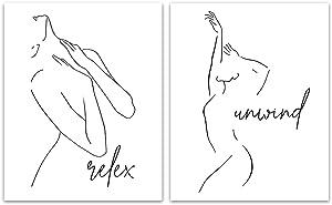 Abstract Minimalist Relax Print - Unframed, Wall Décor, Set of 2 Prints, Minimal, Body Outline Print, Black White Minimalist Line Art,Bathroom Wall Décor, Female Art Print (Relax, Unwind, 8