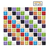 Purture 300 Gram Assorted Colors Mosaic Tiles Stained Glass Mosaic Tiles Decoration Crafts 10MM Square(350 Pieces)