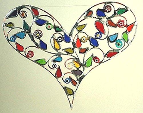 Heart Leaves Suncatcher - Stained Gallery Suncatcher Glass