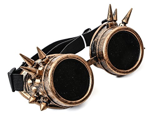 Antique Copper Goggles Sunglasses Cosplay Aviator Steampunk Gothic Burning Man