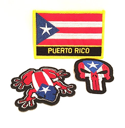 Puerto Rico Patches, 3pc, Puerto Rico flag, Boricua style by Puerto Rico Patches,Puerto Rico flag, Iron on Sew on patches