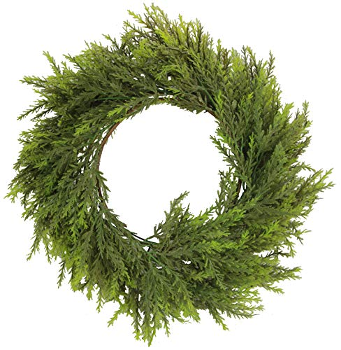 Admired By Nature Artificial 25 Inches Chinese Ceder Wreath in Green (Cedar Wreath)