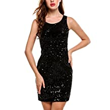Meaneor Women Sexy Sequins Patchwork Sleeveless Bodycon Mini Club Dress