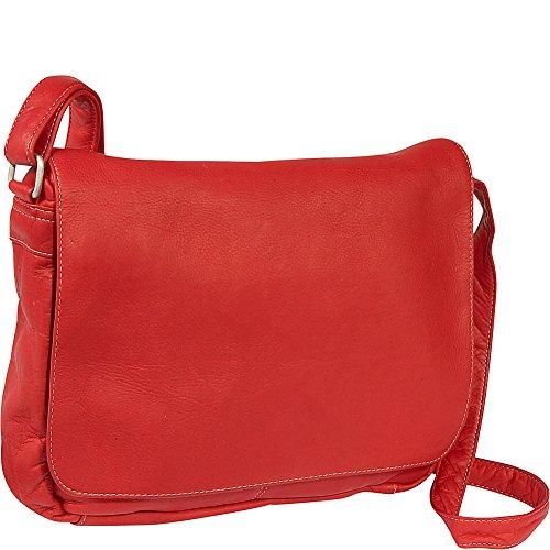 le-donne-leather-flap-over-shoulder-bag-red
