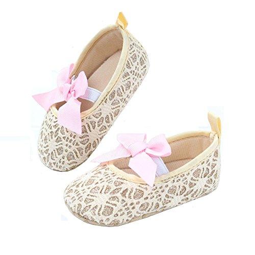 R & V Baby Girl Moccasins Princess Sparkly Premium suela ligera suave infantil Prewalker zapatos Crochet Gold