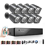 Rraycom 8 Outdoor 1080H HD 2000TVL Home Security Camera System with 8 Channel AHD Surveillance DVR