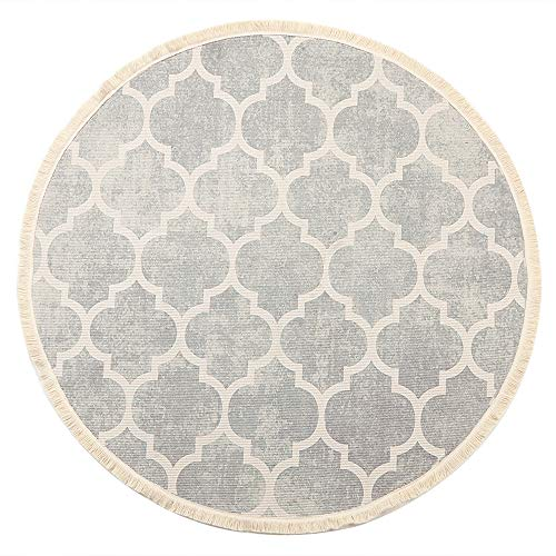 LEEVAN Round Area Rug,Hand Woven Cream Chic Moroccan Print Tassels Throw Rugs Door Mat,Indoor Floor Area Rugs Blanket Compatible Bedroom,Living Room,Children Playroom,Grey, 4' ()