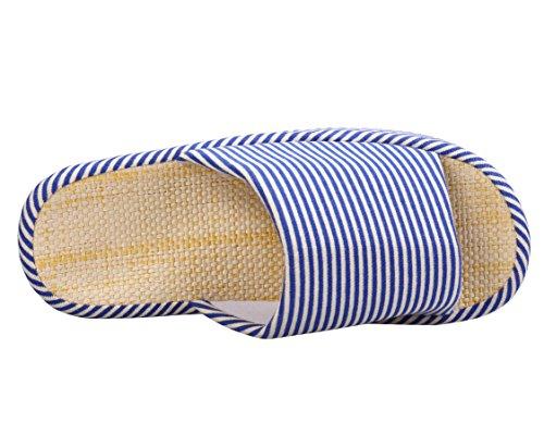 Zicoope Unisexe Zèbre Stripe Pantoufles De Lin Intérieur Coton Bleu Marine