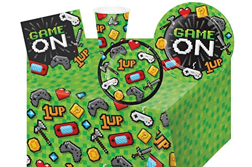 Video Game Party Supplies: Gaming Party Bundle Includes Plates, Napkins, Cups and Tablecover for 8 Guests