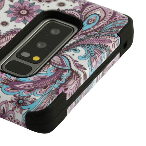 Samsung Galaxy Note 8 Case, Kaleidio [TUFF] Rugged Armor 3-Piece [Shock/Impact Protection] Dual Layer Hybrid Rubber Cover [Includes a Overbrawn Prying Tool] [Blue & Purple Paisley] Blue Paisley Note