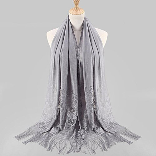 Wrap Fashion Adeshop Scialle Pure Sciarpe Stole Sciarpa Musulmano Long Color Pizzo Islamico Sciarpa Grey Hollow Donna Nappa Hijab Ag7qdgw