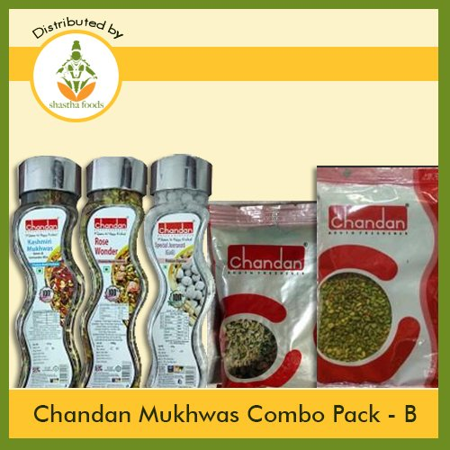 Chandan Mukhwas (Combo Pack B) Contains 5 items Chandan (Kashmiri 165g, Spl Mukhwas 100g-1, Icecream Mukhwas100g-1, Rose Gulab Mukhwas160g-1 & Spl Jeera Goli 200g-1) T-R