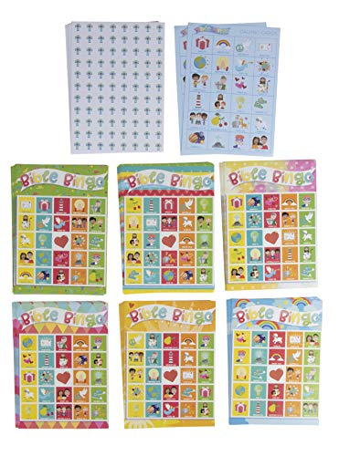 Bible Bingo Game Pack - 36-Set Kids Biblical Education Christian Party Supplies Activity Kit, 2 to 36 Multi-Player Scripture Verse Bingo, Sunday School, Classroom Game, Party Favors, Giveaways]()