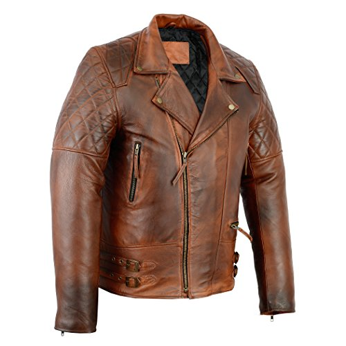 Brown Leather Motorcycle Jacket For Men - 6