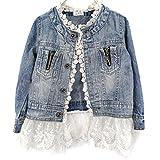 Viqiv Little Girls' Button Down Lace Denim Jacket Collarless Coat, XXL 6-7Y (US 6Y), Blue