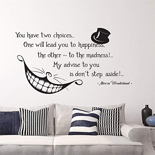 Office Classroom Motivational Inspirational Quote Family Love Vinyl Saying Alice in Wonderland Quote Cheshire Cat Sticker Smile Decal for Living Room Bedroom