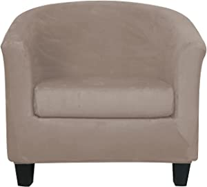 2-Piece Velvet Tub Chair Covers with Cushion Cover Stretch Soft Removable Tub Chair Slipcovers Armchair Sofa Couch Furniture Protector for Living Room Club Bar Counter (Light Tan)