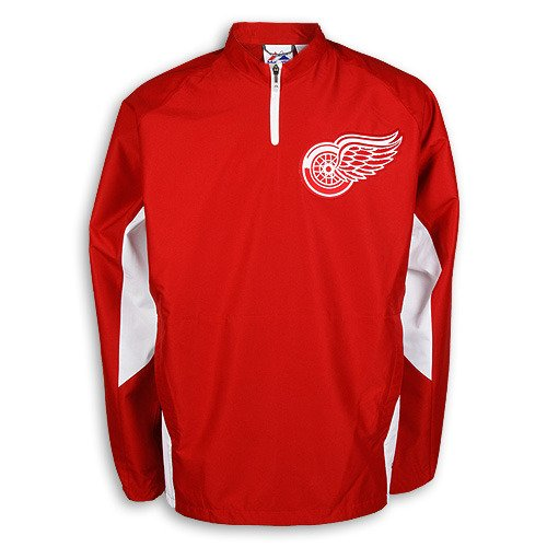 NHL Men's Detroit Red Wings Gamer Long Sleeve Lightweight 1/4 Zip Jacket (Pro Scarlet/Pro White, Medium)