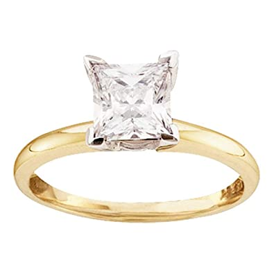 Princess Solitaire Diamond Engagement Ring 14k Yellow Gold Bridal