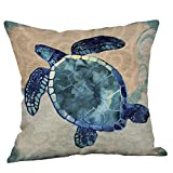 Weiliru Cotton Linen Decorative Pillowcase Throw Pillow Cushion Cover Square,Ocean Theme,Ocean Style